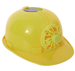 Construction hard hat with solar powred fan